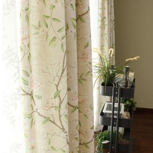 American Blackout Curtain Pastoral Printing Breathable Cotton and Linen Window Treatment