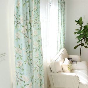 Bedroom Blackout Curtain American Pastoral Printing Window Curtain Panel