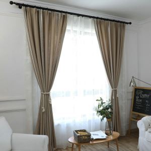 Breathable Jacquard Curtain American Country Leaf  Design