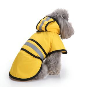Dog Raincoat Pet Waterproof Clothes Rain Jacket Poncho Hoodies with Reflective Strip Yellow