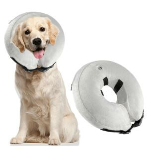 Protective Inflatable Dog Collar Soft Pet Recovery E-Collar Cone for Dogs Grey S