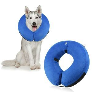 Protective Inflatable Dog Collar Soft Pet Recovery E-Collar Cone for Dogs Blue L