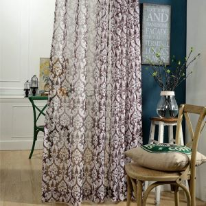 Flower Printing Sheer Curtain European Classic Brown Window Treatment