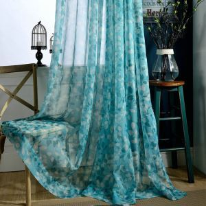 Modern Minimalistic Sheer Curtain Blue Leaf Window Treatment