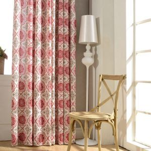 European Classic Blackout Curtain Red Cotton and Linen Window Shade