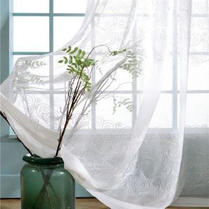 Japanese Style Sheer Curtain Simple Cloud Embroidery Window Treatment
