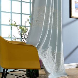 Breathable Living Room Blinds Embroidery Blackout Curtain