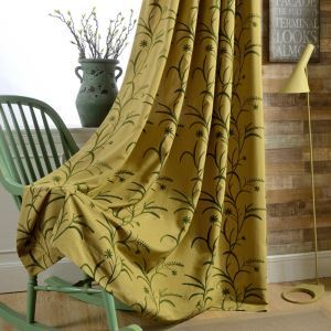 Cotton Linen Blackout Curtain Yellow Room Darkening Living Room Bedroom
