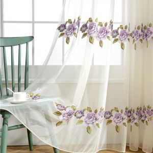 Purple Flower Sheer Curtain American Simple Embroidered Curtain Bedroom