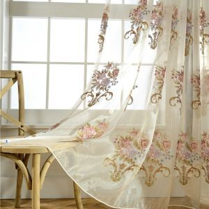 Luxury Sheer Curtain American Flower Embroidery Exquisite Bedroom Curtain