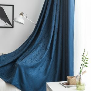 Blue Blackout Curtain Nordic Jacquard Thick Curtain