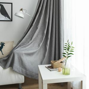 Grey Jacquard Curtain Nordic Simplicity Shade Fabric Living Room