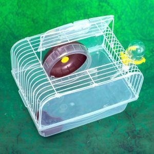 Portable Hamster Mice Cage Transparent Brown Pet House Outdoor Travel Carrier