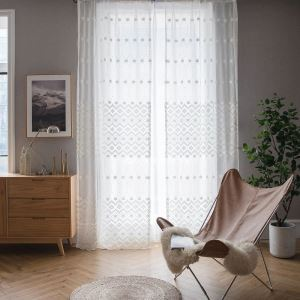 Nordic Minimalist Sheer Curtain Abstract Geometric Jacquard Window Treatment