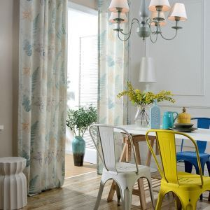 Simple Green Curtian Polyester Cotton Children's Room Printing Curtain