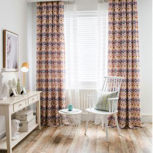 Southeast Asian Retro Curtain Contrast Diamond Printed Curtain Kids' Room Fabric(One Panel)