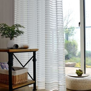 Modern Simple Sheer Curtain Stripes Jacquard Sheer Curtain Living Room Study Versatile Fabric(One Panel)