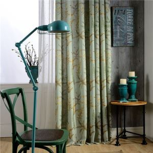 American Rural Curtain Tree Leaves Printed Curtain Environment Protective Cotton Fabric(One Panel)