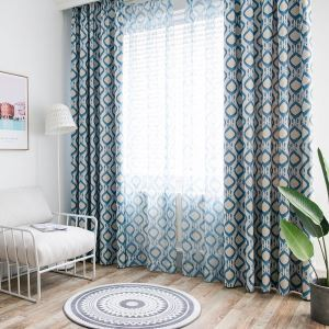 Nordic Style Curtain Blue Diamond Printed Curtain Environment Protective Blackout Fabric(One Panel)