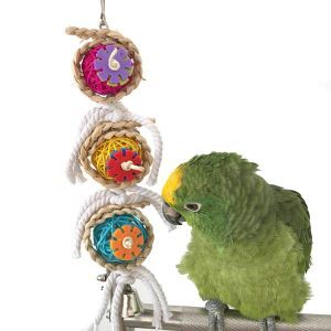 Pet Bite Toy Parrot Corn Leaves Rattan Ball