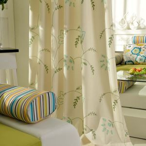 Semi Blackout Curtain American Simple Curtain Cotton Embroidery Fabric with Colorful Unique Flowers