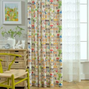 Simple Cartoon Curtain House Printed Curtain Kids' Room Curtain(One Panel)
