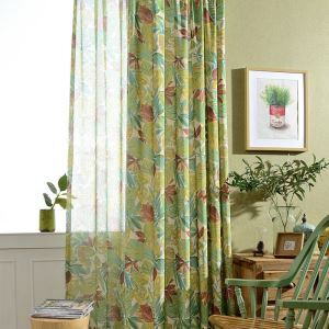 American Rural Curtain Green Leaves Printed Curtain Bedroom Breathable Fabric(One Panel)