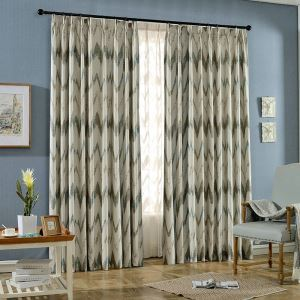 Nordic Style Curtain Abstract Wave Jacquard Curtain Living Room Kid's Room Fabric(One Panel)