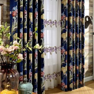 American Luxurious Curtain Unique Blue Jacquard Curtain Living Room Thickened Chenille Fabric(One Panel)