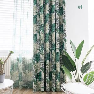 Green Leaf Curtain Jungle Themed Romantic American Rural Curtain Bedroom Living Room Blackout Fabric(One Panel)
