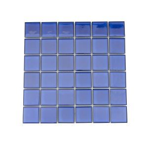 Porcelain Mosaic Tile Square Cobalt Blue Glossy  48x48mm
