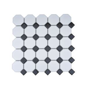Matte Ceramic Mosaic Tile Octagon White and Square Black
