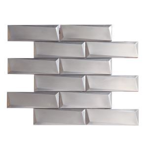 3D Stainless Steel Mosaic TileRectangle Asymmetric Beveled 48x148mm