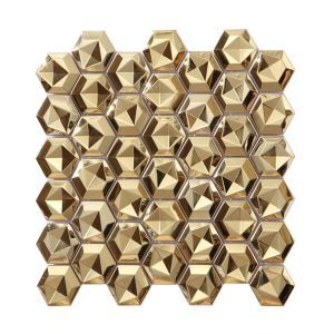 3D Stainless Steel Mosaic Tile Hexagon Golden Special Stamped 48x48mm