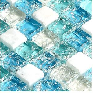 Natural Stone Mosaic Tile Square Blue Inner Crackled Crystal Glass Mix White Marble 15x15mm