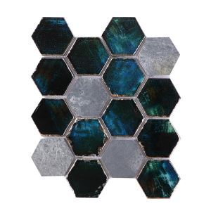 Crystal Glass Mosaic Tile Hexagon Hand Painted Blue Special Tumbled Mix Dark Gray Honed Travertine 73mm