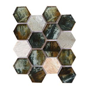 Crystal Glass Mosaic Tile Hexagon Hand Painted Coffee Brown Special Tumbled Mix Light Gray Flamed Travertine 73mm
