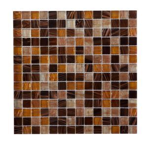 Glass Mosaic Tile Square Beige and Brown Metallic Highlight 20x20mm