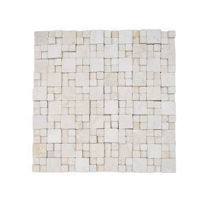 3D Mosaic Tile Honed Travertine Square Light Gray Natural Stone