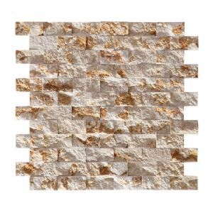 Natural Stone Mosaic Marble Material I-shaped Collage Gold Pattern