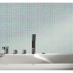 Glass Mosaic Tile Square Iridescent White 1.5x1.5