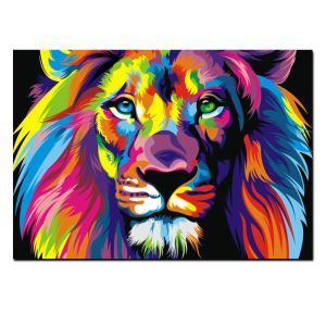 Frameless Oil Painting Color Lion Modern Minimalist Canva 12