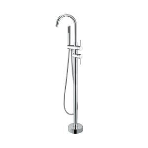 Floor Mounted Free Standing Bathtub Faucet with Sprayer Chrome wz-6158