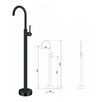 Floor Mounted Free Standing Bathtub Faucet With Sprayer Black A