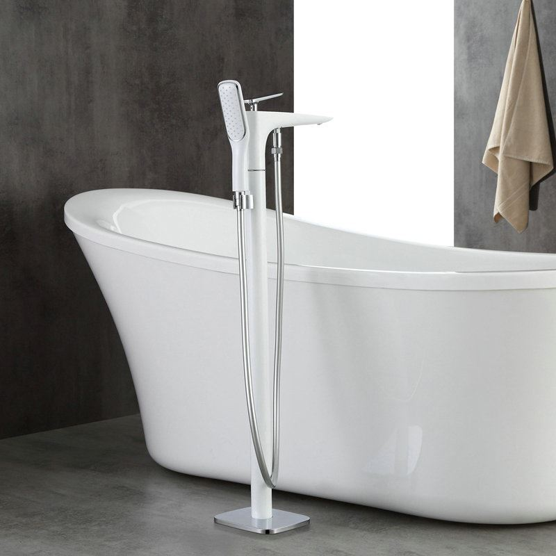Floor Mounted Free Standing Bathtub Faucet With Sprayer White 61014 2
