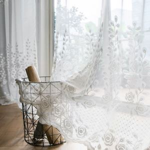 Modern Simple Sheer Curtain Graceful Chinese Rose Jacquard Sheer Curtain Bedroom Fabric(One Panel)