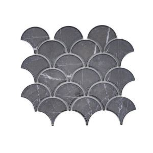 Porcelain Mosaic Tile Oriental Fan Dark Grey Marbleize Glossy