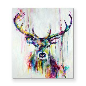 Frameless Oil Painting Elk Modern Minimalist Canva