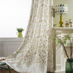 Rural Simple Curtain Unique Vine Embroidery Curtain Versatile Linen Fabric(One Panel)