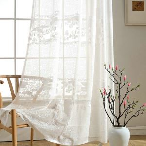 Modern Simple Sheer Curtain Unique Chinese Painting Jacquard Sheer Curtain(One Panel)